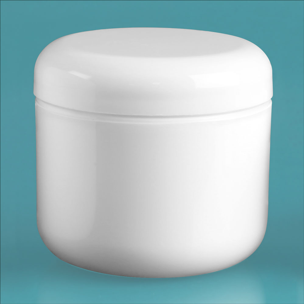 4 oz White Polypro Double Wall Radius Jars w/ White Lined Dome Caps & Cosmetic Disc Liners