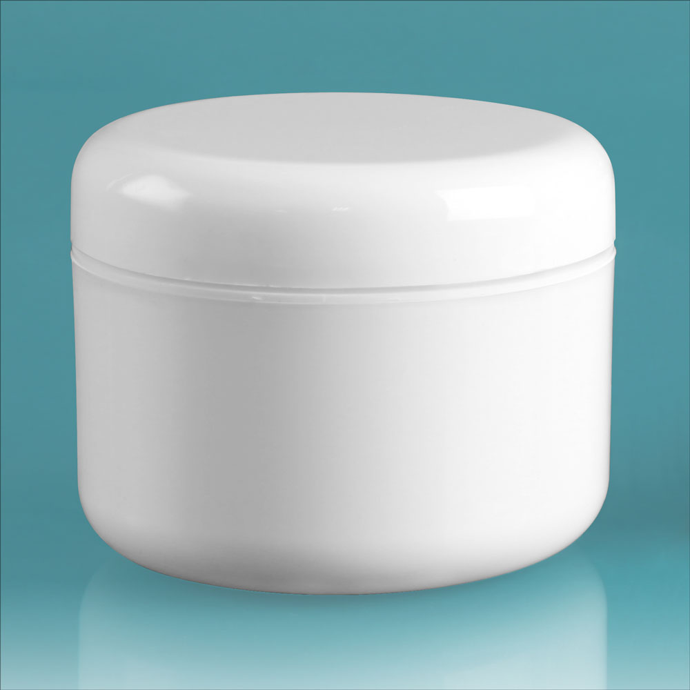 8 oz White Polypro Double Wall Radius Jars w/ White Lined Dome Caps & Cosmetic Disc Liners