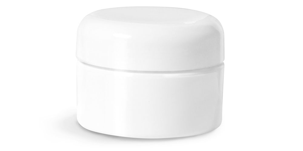 1/2 oz Plastic Jars, White Double Wall Straight Base Jars w/ White Lined Dome Caps