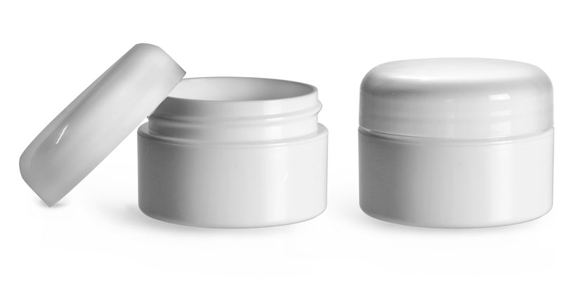 Plastic Jars, 1/2 oz White Polypropylene Double Wall Straight Base Jars w/ White Lined Dome Caps