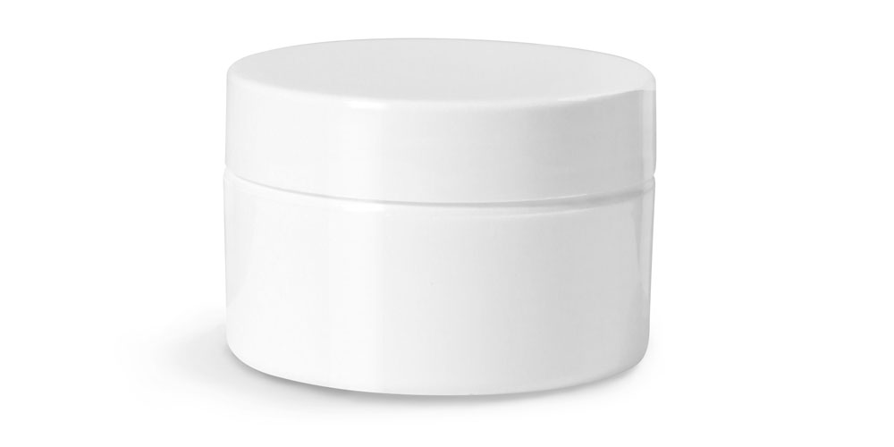 1/2 oz Plastic Jars, White Double Wall Straight Base Jars w/ White Lined Smooth Caps
