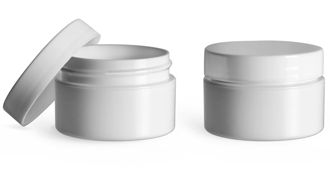 Plastic Jars, 1/2 oz White Polypropylene Double Wall Straight Base Jars w/ White Lined Smooth Caps