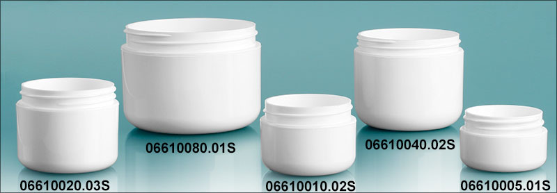 Plastic Jars, White Polypropylene Double Wall Radius Jars (Bulk) Caps Not Included