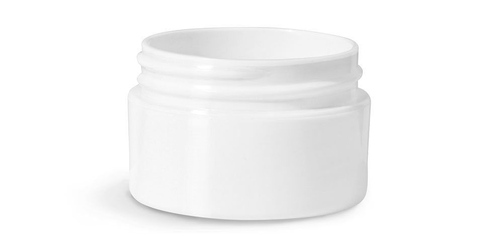 1/2 oz White Polypropylene Double Wall Straight Base Jars (Bulk) Caps Not Included