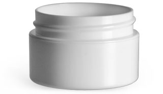 White Polypropylene Double Wall Straight Base Jars (Bulk) Caps Not Included
