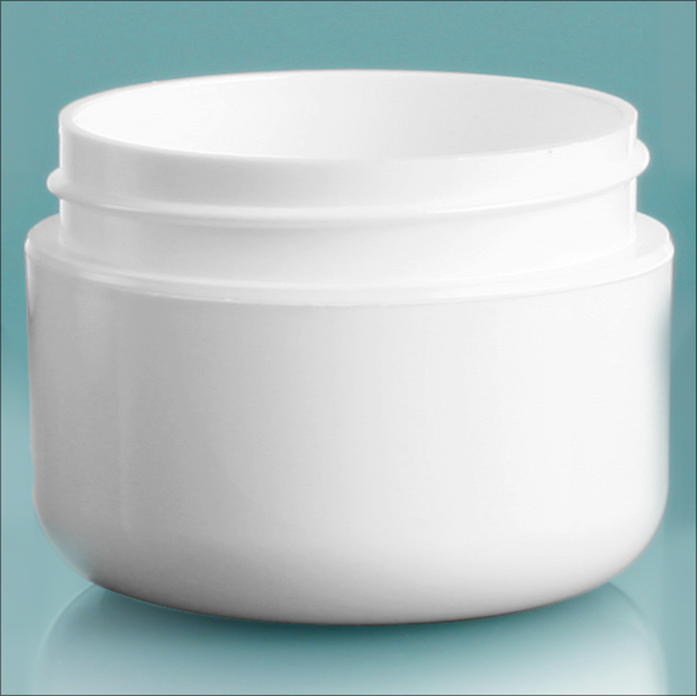 1 oz White Polypro Double Wall Radius Jars (Bulk), Caps Not Included