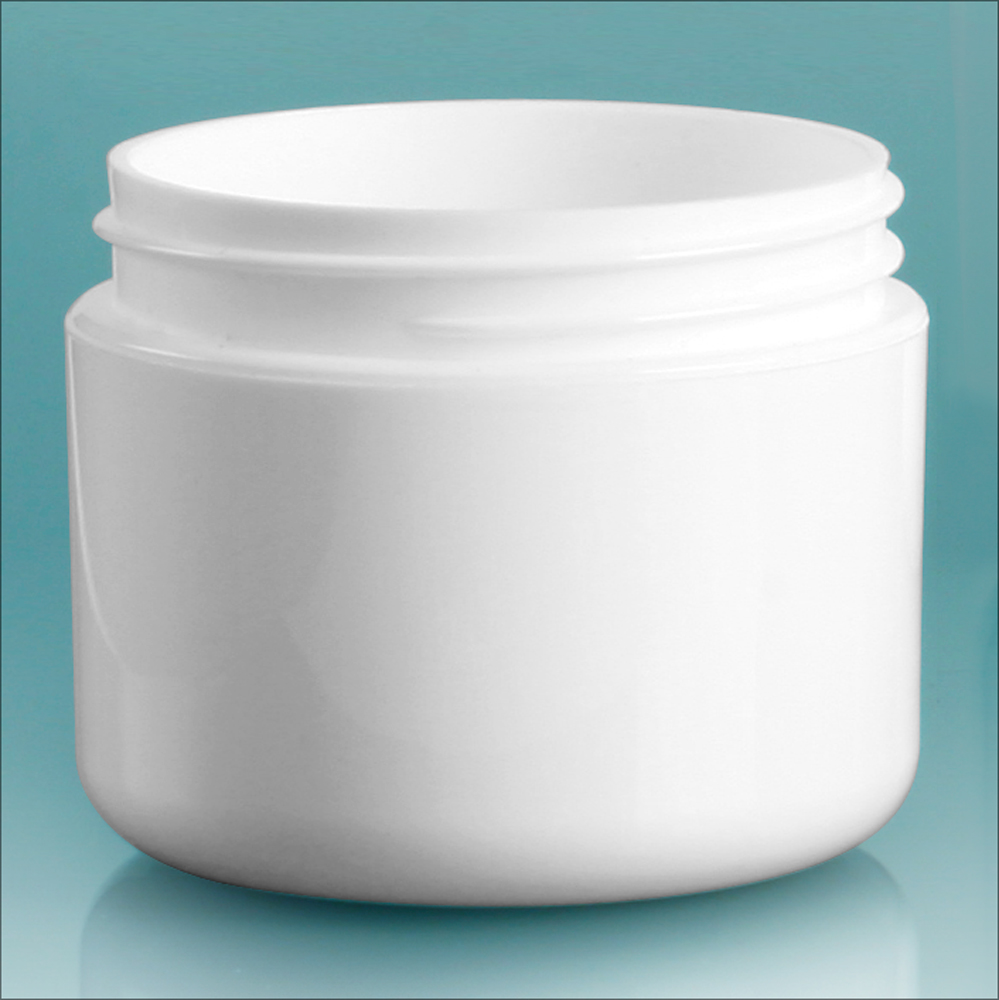 2 oz White Polypro Double Wall Radius Jars (Bulk), Caps Not Included