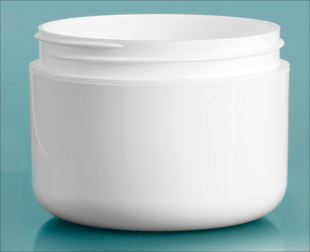 8 oz White Polypro Double Wall Radius Jars (Bulk), Caps Not Included