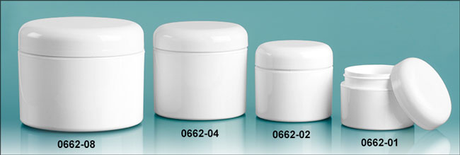 Plastic Jars, White Polypropylene Double Wall Straight Sided Jars w/ White Lined Dome Caps