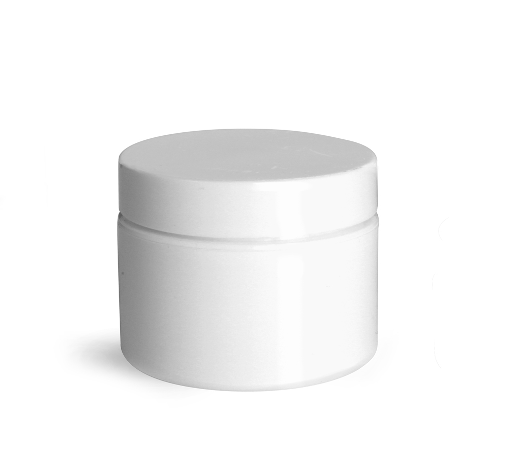 1 oz White Polypro Double Wall Jars w/ White Lined Caps