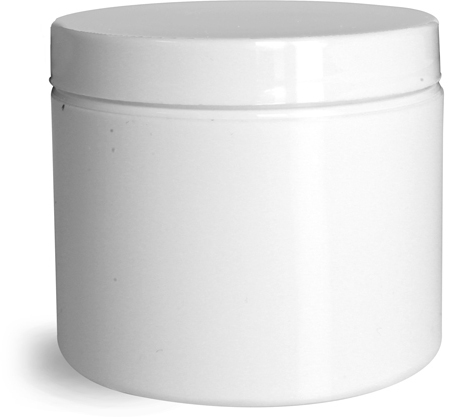 White Polypro Double Wall Jars w/ White Lined Caps