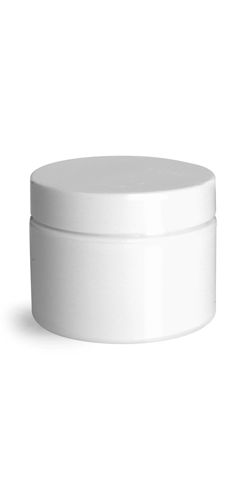1 oz 1 oz White Polypro Double Wall Straight Sided Jars w/ White Smooth PS22 Lined Caps