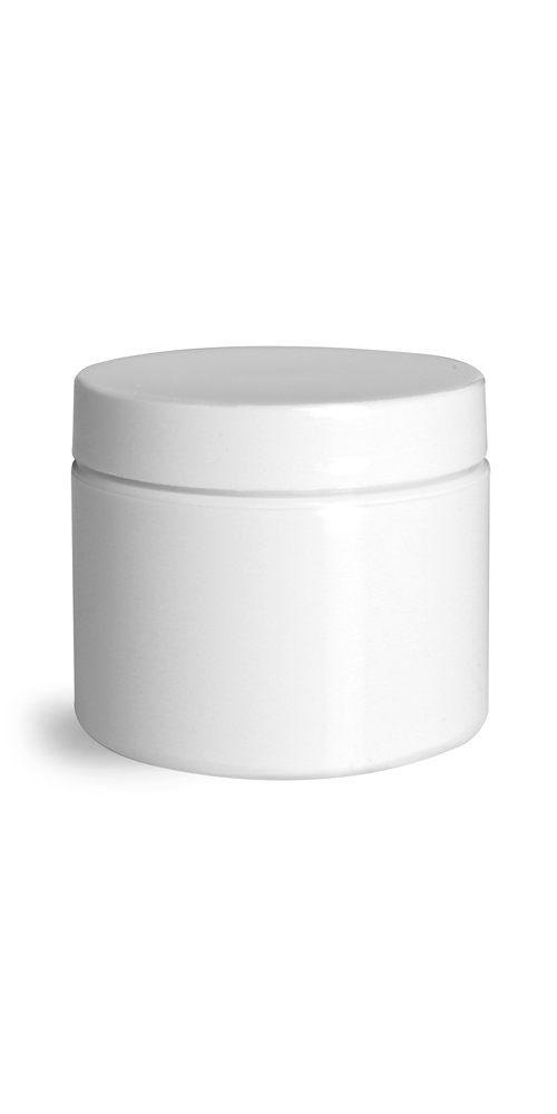 2 oz 2 oz White Polypro Double Wall Straight Sided Jars w/ White Smooth PS22 Lined Caps