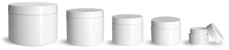 Polypropylene Plastic Jars, White Double Wall Jars w/ White Lined Caps