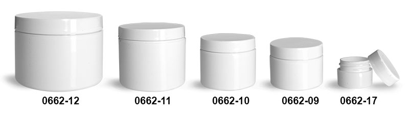 Plastic Jars, White Polypropylene Double Wall Jars w/ White Lined Caps