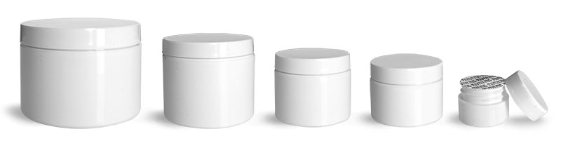 Polypropylene Plastic Jars, White Double Wall Jars w/ White Smooth PS22 Lined Caps