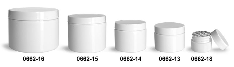 Plastic Jars, White Polypropylene Double Wall Straight Sided Jars w/ White Smooth Caps