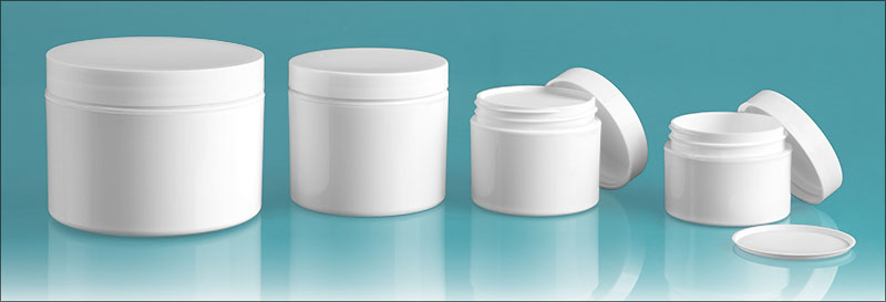 Polypropylene Plastic Jars, White Double Wall Jars w/ White Smooth Lined Caps & Cosmetic Disc Liners'
