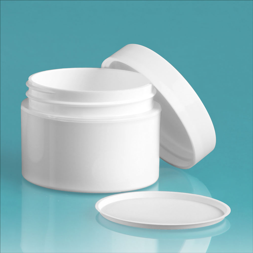 1 oz White Polypro Double Wall Jars w/ White Smooth Lined Caps & Cosmetic Disc Liners
