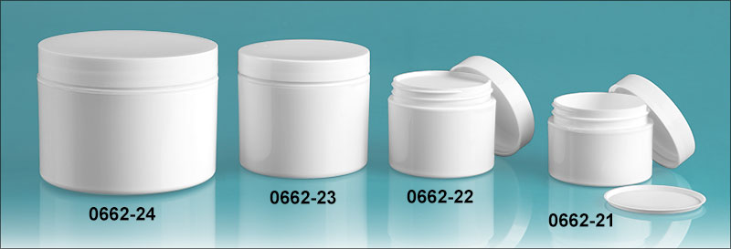 Plastic Jars, White Polypropylene Double Wall Jars w/ White Smooth Lined Caps & Cosmetic Disc Liners