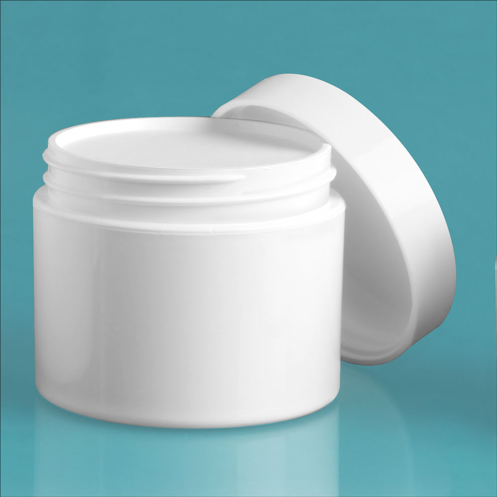 2 oz White Polypro Double Wall Jars w/ White Smooth Lined Caps & Cosmetic Disc Liners