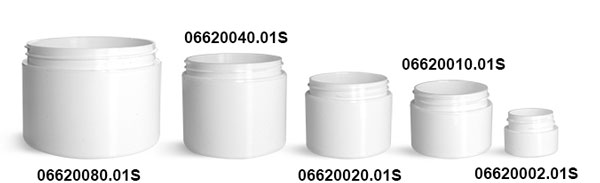 White Polypropylene Double Wall Straight Sided Jars (Bulk) Caps Not Included