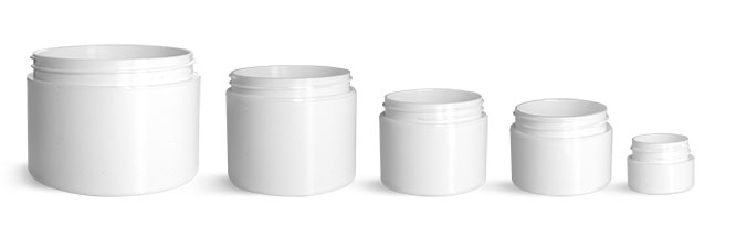White Polypro Double Wall Straight Sided Jars (Bulk), Caps Not Included