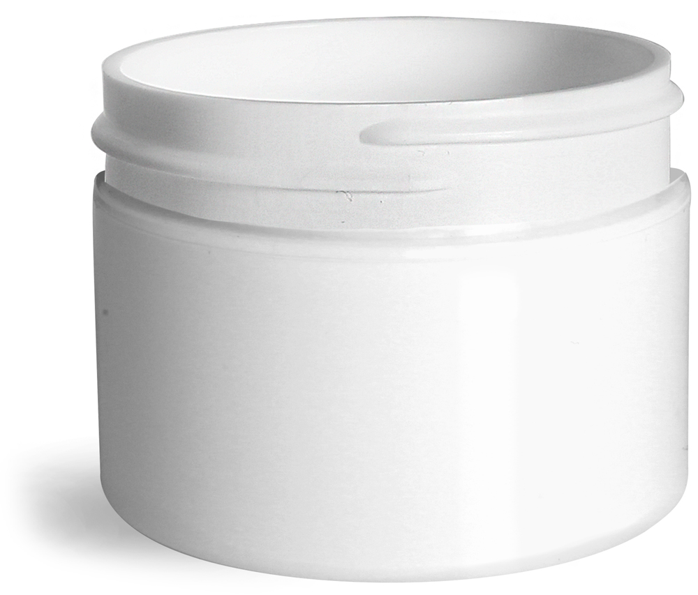 1 oz White Polypro Double Wall Straight Sided Jars (Bulk), Caps Not Included