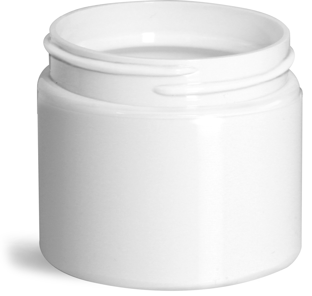 2 oz White Polypro Double Wall Straight Sided Jars (Bulk), Caps Not Included