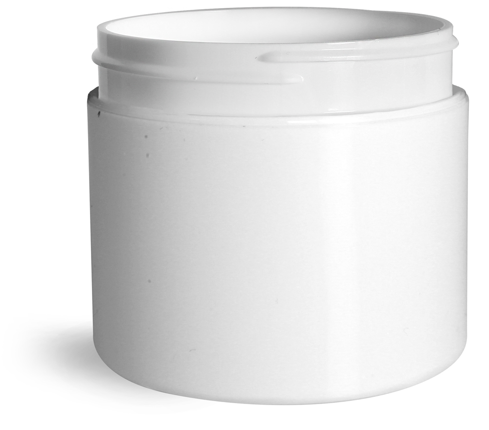 4 oz White Polypro Double Wall Straight Sided Jars (Bulk), Caps Not Included