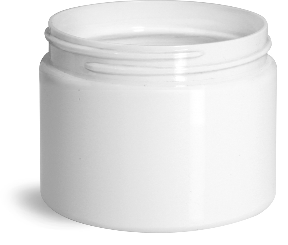 8 oz White Polypro Double Wall Straight Sided Jars (Bulk), Caps Not Included