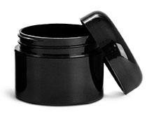 2 oz Plastic Jars, Black Polypropylene Double Wall Straight Sided Jars w/ Lined Black Dome Caps