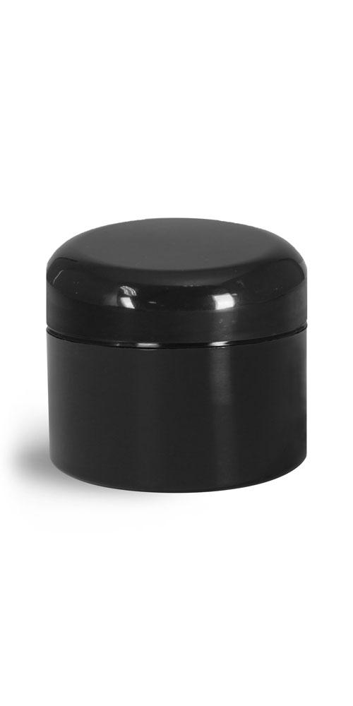 1 oz Plastic Jars, Black Polypropylene Double Wall Straight Sided Jars w/ Lined Black Dome Caps