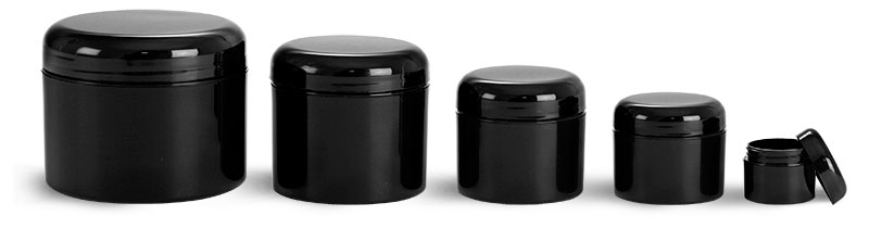 Polypropylene Plastic Jars, Black Double Wall Jars w/ Black Smooth Lined Dome Caps