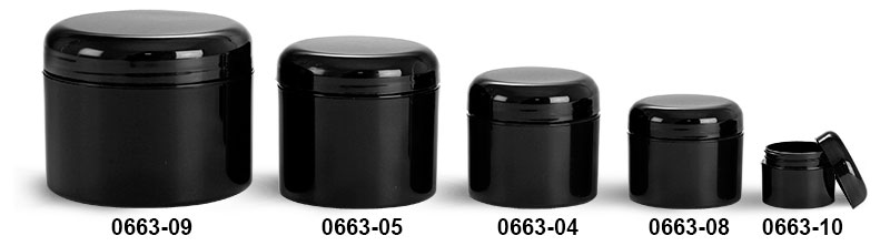 Plastic Jars, Black Polypropylene Double Wall Straight Sided Jars w/ Lined Black Dome Caps