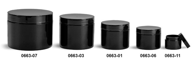 Plastic Jars, Black Polypropylene Double Wall Straight Sided Jars w/ Smooth Black PE Lined Caps