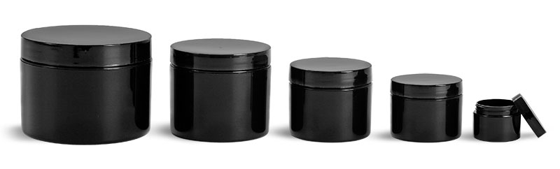 Polypropylene Plastic Jars, Black Double Wall Jars with Smooth Black PE Lined Caps