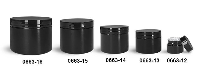 Plastic Jars, Black Polypropylene Double Wall Straight Sided Jars w/ Black PS22 Lined Caps