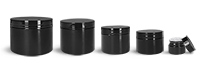 Polypropylene Plastic Jars, Black Double Wall Jars w/ Black PS22 Lined Caps