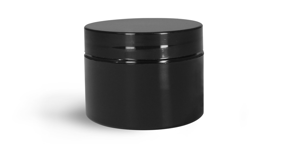 Plastic Jars, Black Polypro Double Wall Straight Sided Jar w/ Black PS22 Lined Caps
