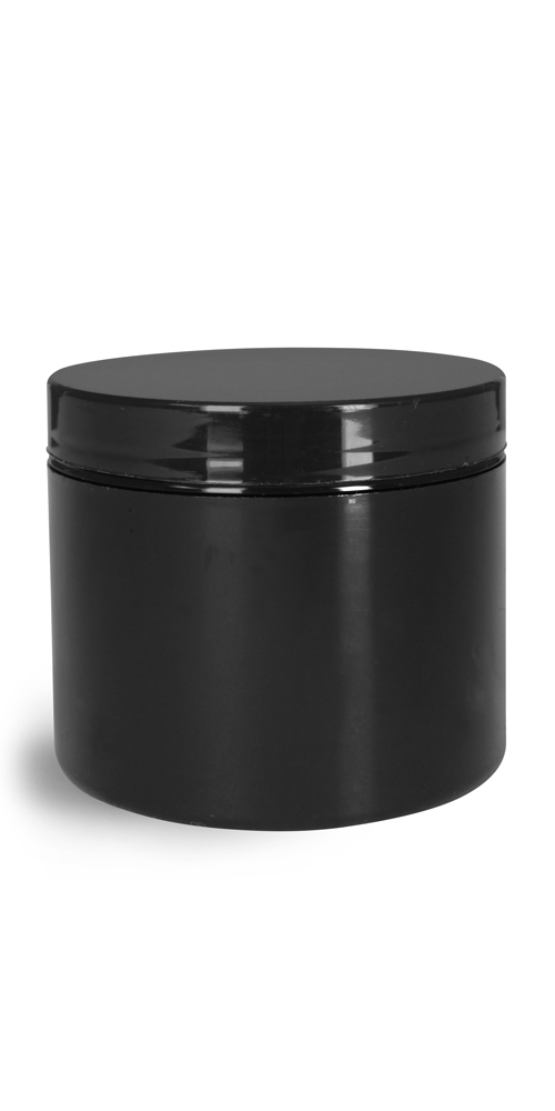 4 oz Plastic Jars, Black Polypro Double Wall Straight Sided Jar w/ Black PS22 Lined Caps