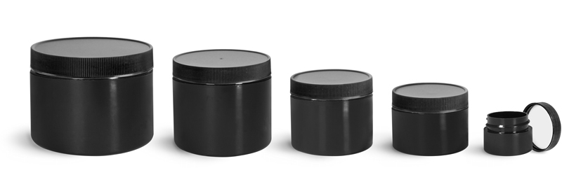 Polypropylene Plastic Jars, Black Double Wall Straight Sided Jars w/ Black Ribbed PE Lined Caps
