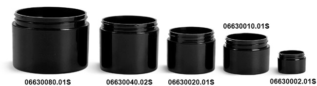 Black Polypro Double Wall Straight Sided Jars (Bulk) Caps Not Included
