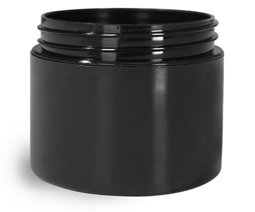 2 oz Black Polypro Double Wall Straight Sided Jars (Bulk), Caps Not Included