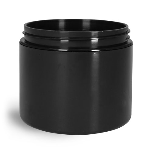 8 oz Black Polypro Double Wall Straight Sided Jars (Bulk), Caps Not Included