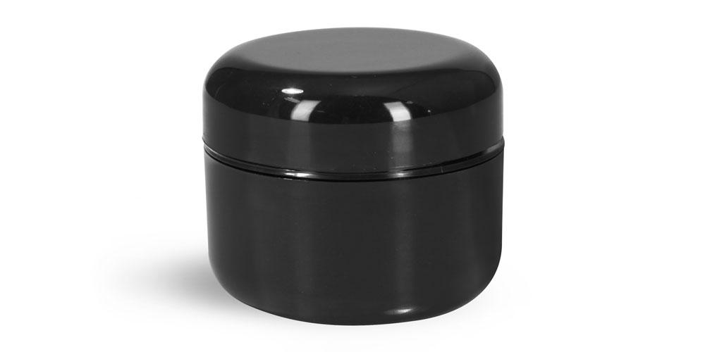 1 oz Plastic Jars, Black Plastic Double Wall Radius Jars w/ Black Lined Dome Caps