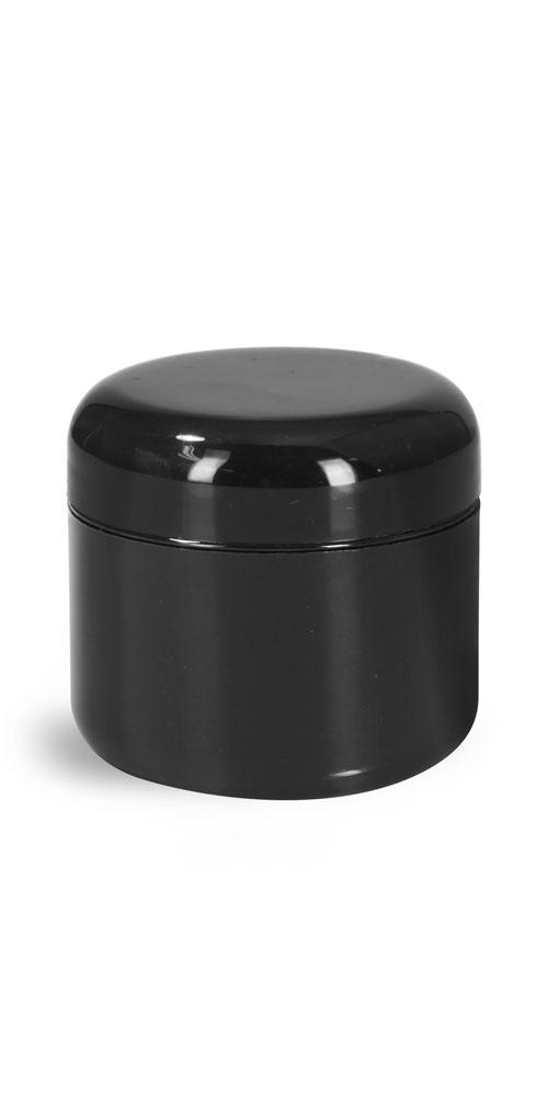 2 oz Plastic Jars, Black Plastic Double Wall Radius Jars w/ Black Lined Dome Caps