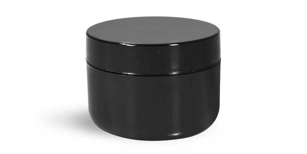 1 oz Plastic Jars, Black Polypro Double Wall Radius Jars w/ Smooth Black Lined Caps