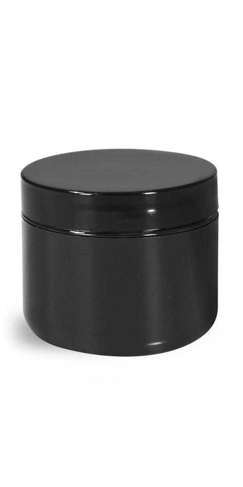 2 oz Plastic Jars, Black Polypro Double Wall Radius Jars w/ Smooth Black Lined Caps