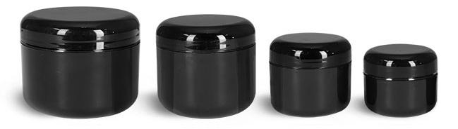 Polypropylene Plastic Jars, Black Plastic Double Wall Radius Jars w/ Black Lined Dome Caps